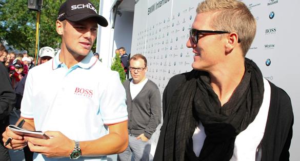 Martin Kaymer meets Bastian Schweinsteiger nach Runde zwei der BMW Golf Open 2011