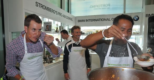 Kulinarisches Küchenmatch bei Sternekoch Holger Stromberg: Drei Golfprofis zeigten ihre Kochkünste