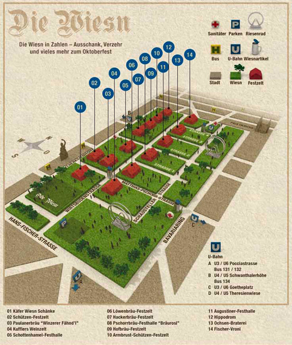 Oktoberfest 2012: Alle Zelte, alle Wirte, Biermarken und Musi