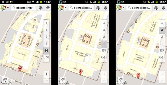 Shoppen mit Google Indoor Maps: Oberpollinger in München
