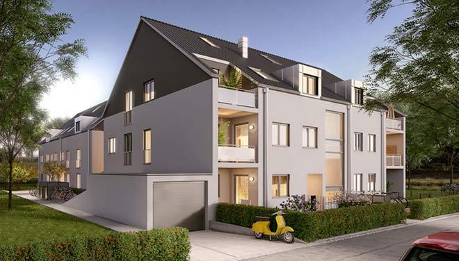 Eigentumswohnungen direkt am Ostpark entstehen vom Münchner Wohnbauunternehmen 'Kempe'.