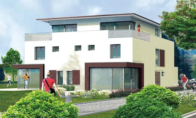 Eine Gartenwohnung, ein Haus im Haus und eine Haushälfte verbergen sich hinter dieser Fassade vom Münchner Bauträger 'Münchner LebensArt'. Fotocredit: neubaukompass.de