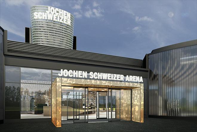 So sieht der Zentral Haupteingang der neuen Jochen Schweizer Arena aus.