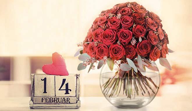 Deadline für Valentinstagsgeschenke: die roten Rosen müssen bis 14 Uhr bestellt werden, damit sie noch rechtzeitig ankommen!