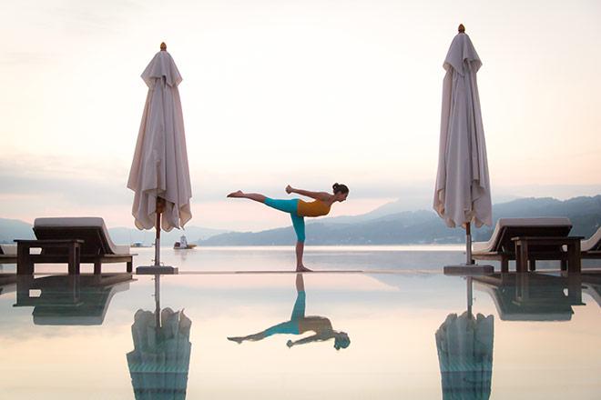 Yoga Urlaub mit atemberaubenden Blick auf den Wörthersee.