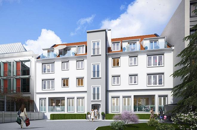 Das Hochparterre des Rückgebäudes wurde bislang als Büro genutzt. Jetzt entstehen hier vier Immobilien Bestlage München