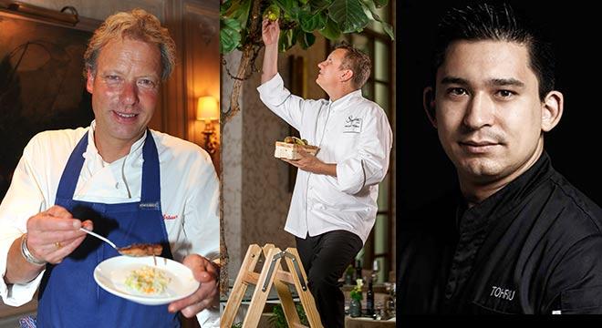 Sterneköche im Charles Hotel: Bobby Bräuer (Fotocredit: SchneiderPress) - Mitte Michael Hüsken (Küchendirektor Charles Hotel) - Tohru Nakamura