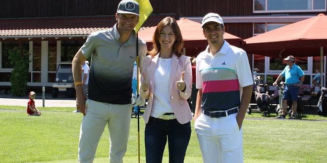 Golf rund um München: Thomas Müller, Romy Rohrhofer (GC Hohenpähl) und Philipp Lahm in GC Hohenpähl