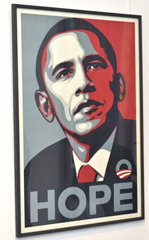 Urban Art München Ausstellung: Barack Obama Porträt von Urban Art Künstler Shepard Fairey. Fotocredit: Hannes Magerstedt