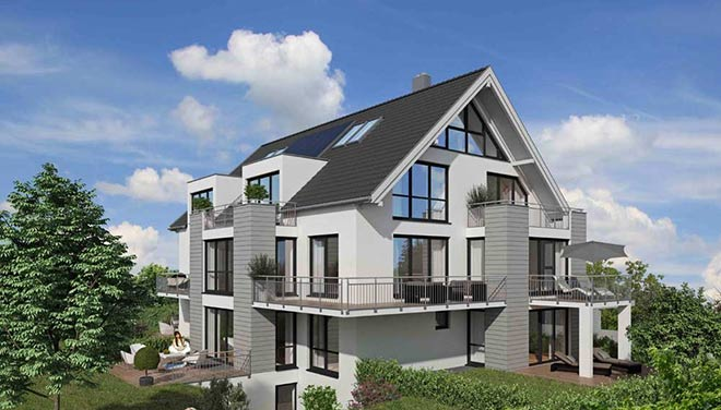 Sieben Eigentumswohnungen und das separate Atelierhaus verfügen über Wohnungsgrößen zwischen 72 und 115 qm.