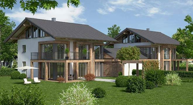 Eine Villa im Grünen: In Straßlach entstehen zwei Einfamilienhäuser im Chalet-Stil