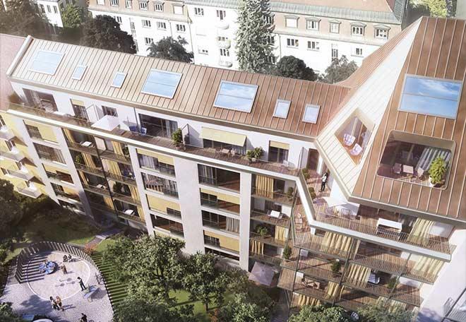 wohnen in alt bogenhausen penthouse ber drei ebenen. Black Bedroom Furniture Sets. Home Design Ideas