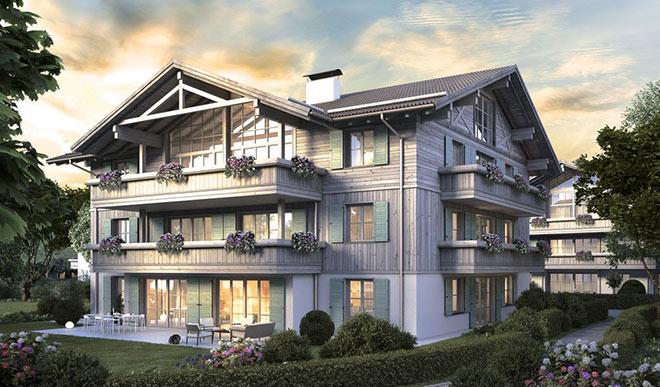 Wohnen am Tegernsee: Wer sich nicht gleich eine ganze Villa kaufen will: Wie wärs mit einer Eigentumswohnung in einer Villa? Fotocredit: neubaukompass.de