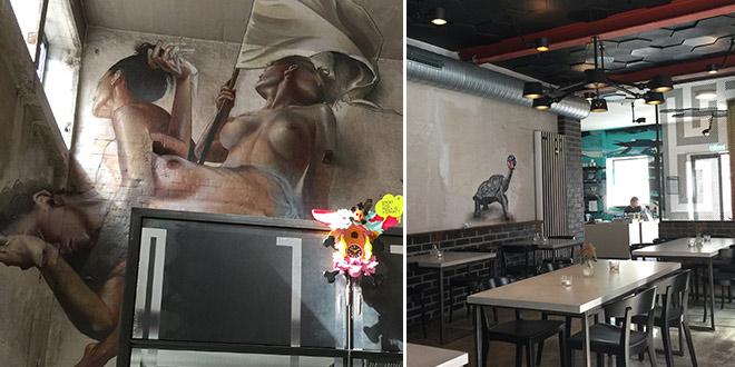 Mural Restaurant im MUCA Museum mit Loft-Charakter.