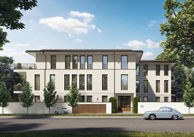Luxusimmobilie mit 6 Wohnungen: Mit Wohnflächen von ca. 130 qm bis ca. 210 qm entstehen im Herzogpark sechs Luxuswohnungen! Fotocredit: neubaukompass.de