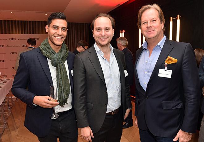 Zum Jungunternehmer-CEO-Dinner lud Christoph Herzog (Mitte). Links von ihm: Abdula Hamed und rechts Andreas Baron von Maltzan. Fotocredit: H. Magerstaedt für Audi