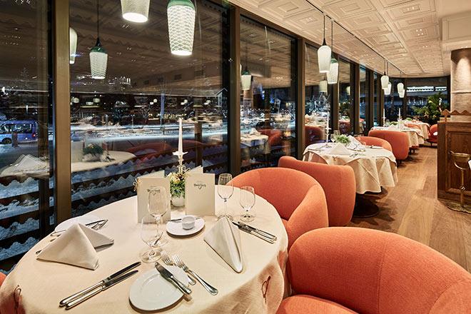 Gourmetrestaurant mit Ausblick und Lech im Winter Fotocredit: Herbert Lehmann