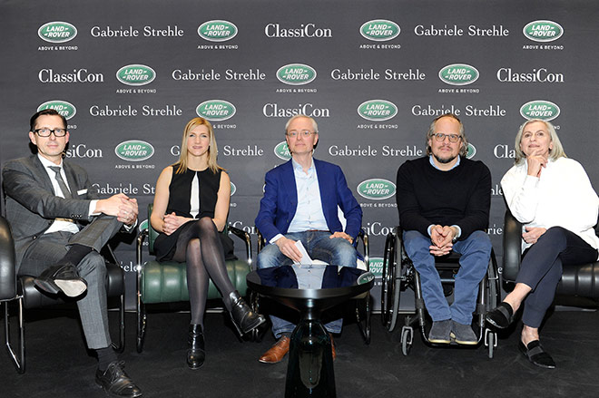Luxus Talk: Brian Fousse (Jaguar LandRover), Mel McWhriter, Oliver Herwig, Oliver Holy, Gabriele Strehle. Fotocredit: Dominik Beckmann / BrauerPhotos