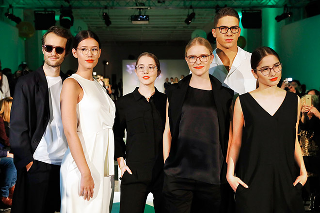 Oscar Lauterbach, Isabella Ahrens, Enya Elstner, Milana Bruges von Pfuel, Tyger Lobinger and Lucia Strunz during the Rodenstock Eyewear Show on January 12, Opti 2018 in Munich, Germany. (Photo by Franziska Krug/Getty Images for Rodenstock)