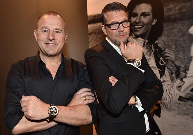 Heino Ferch und Kai Wiesinger konnten der neuen Breitling Navitimer 8 nicht widerstehen. Fotocredit: Hannes Magerstaedt, GettyImages