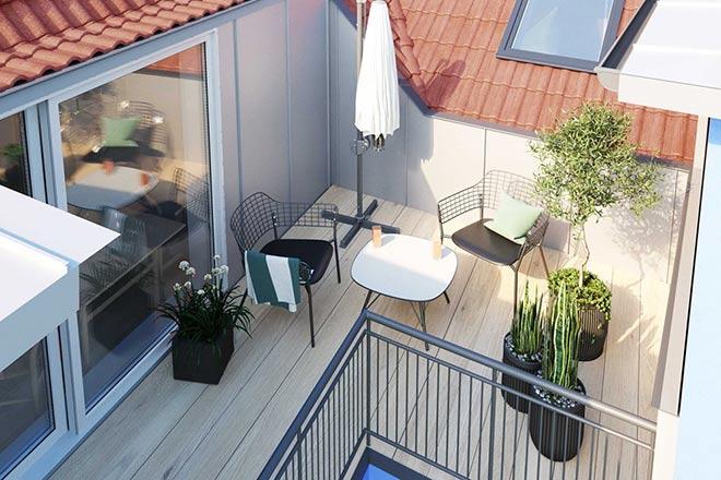 Kleiner, aber feiner Rückzugsort zwischen den Dächern. Fotocredit: neubaukompass.de