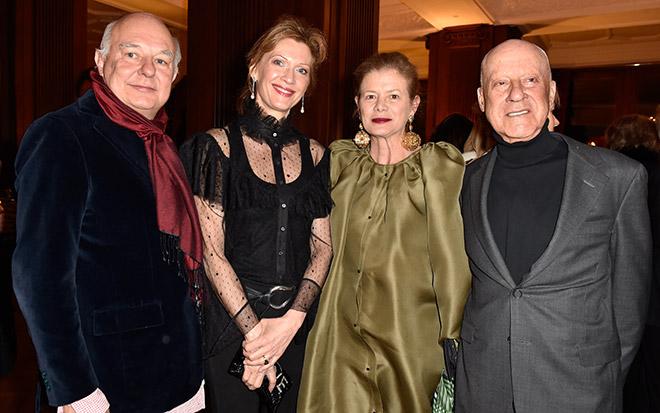 High Society Abstecher nach St. Moritz: Rolf Sachs, Mafalda von Hessen, Star-Architekt Norman Forster mit Frau Elena. Fotocredit: Sabine Brauer, BrauerPhotos