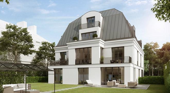 Was man hier nicht sieht ist die Rooftop-Terrasse konzipiert von H-I-M Villenbau. Fotocredit: neubaukompass.de / unverbindliche Darstellung aus Sicht des Illustrators