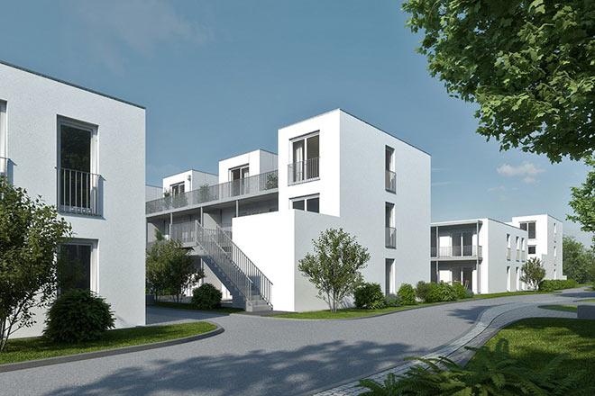 Was man den Gebäuden nicht ansieht: sie benötigen nur noch einen Bruchteil der Heizwärme-Energie herkömmlicher Bauten. Coole Niedrigenergiehäuser. Fotocredit: neubaukompass.de
