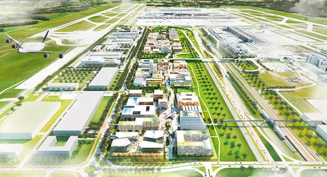 So könnte der Flughafen München Lab Campus im Endausbau aussehen.