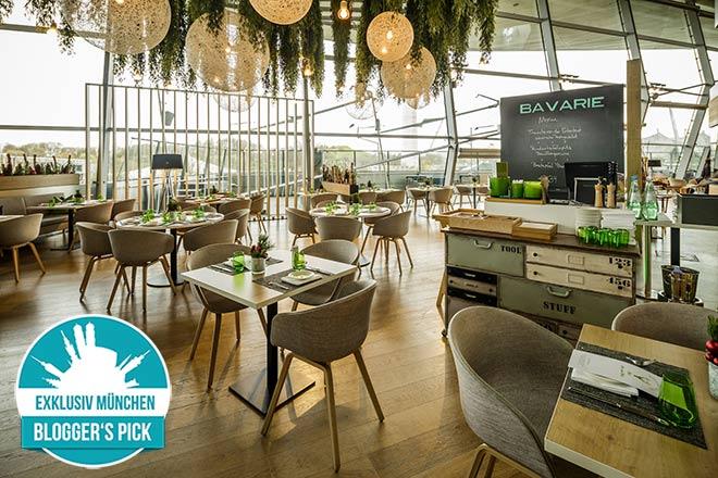 Bayerische Brasserie mit fantastischen Ausblicken auf das Olympiagelände.