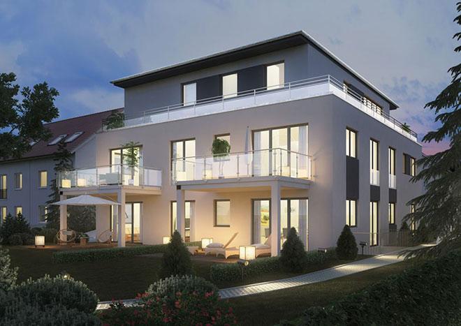 Sechs Eigentümer sind hier im Wohnglück. Unser Favorit: Die Penthousewohnung mit komplett umlaufender Terrasse. Fotocredit: neubaukompass.de