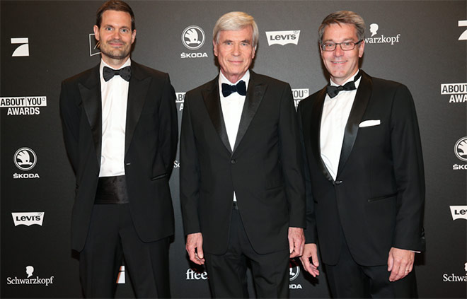 Benjamin Otto, Member of Board of Management Otto Group, Dr. Michael Otto, CEO Otto Group and Alexander Birken, CEO Otto Group during the 2nd ABOUT YOU Awards 2018