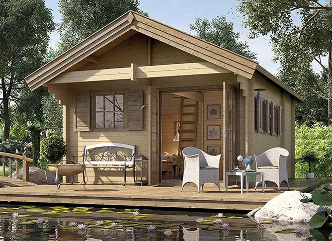 Auch das Weekendhaus 155 mit klassischem Stecksystem kann selbst aufgebaut werden. WEKA Holzbau bietet aber auch einen Aufbauservice an.