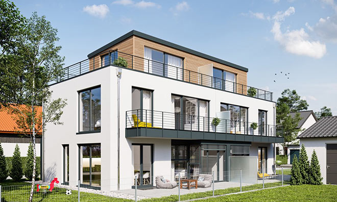 In Gräfelfing steht dieses Doppelhaus-Schmuckstück! Neuer Immobilien Trend Fotocredit: neubaukompass.de