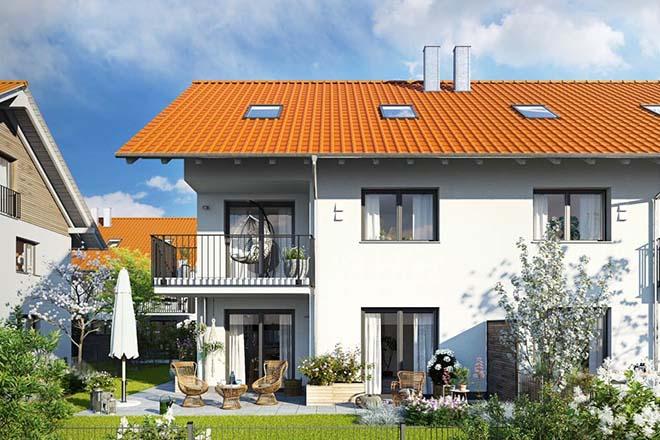 17 Eigentumswohnungen entstehen in zwei Mehrfamilienhäuser mit Tiefgarage, von denen eines auch Wohnraum im begehrten Einheimischenmodell bietet. Dazu wird es drei Reihenhäuser und zehn großzügige Doppelhaushälften geben. Fotocredit: neubaukompass.de