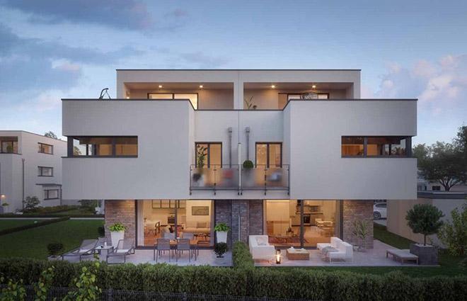 Die beiden Doppelhäuser bilden zusammen mit zwei ebenfalls neuen Dreispännern ein attraktives Ensemble zeitlos-moderner Bauhausarchitektur.
