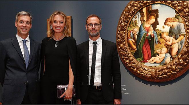 Andreas Schumacher (Alte Pinakothek), Lilly zu Sayn-Wittgenstein-Berleburg und Bart de Baur (MD Bvlgari). Fotocredit: Franziska Krug, GettyImages