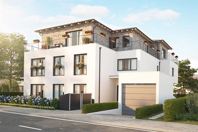 Die Mehrfamilienhausvilla beherbergt 6 Eigentumswohnungen mit Wohnflächen von ca. 48 - 159 m².