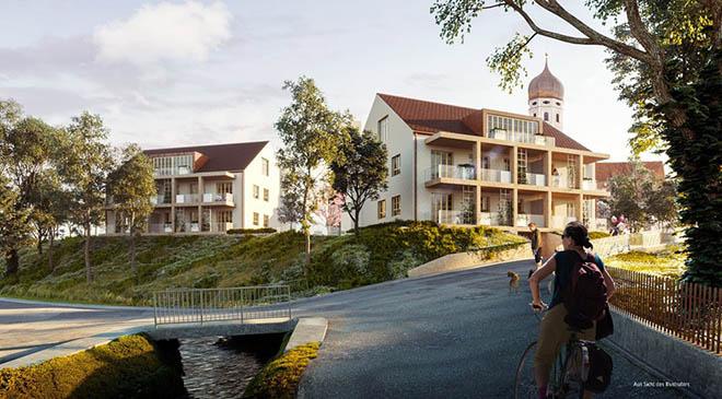 Neubau von drei Mehrfamilienhäusern mit 15 Wohnungen und Tiefgarage.