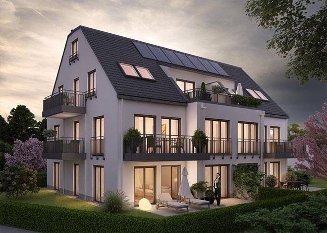 Ein 6-Familienhaus in Feldmoching ist eines der aktuellen Immo-Projekte von Emslander & Company. Fotocredit: neubaukompass.de