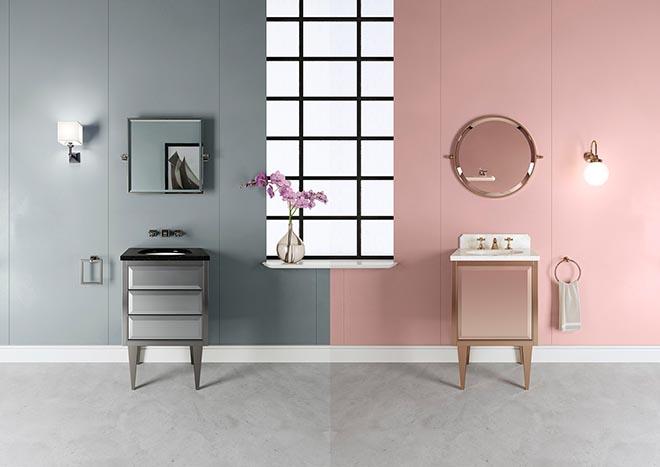 Bauhaus fürs Bad: HIM und HER sind kompakte Waschtische, die aus hochwertigen Rohstoffen und edlenOberflächen gefertigt sind. Hier verbindet sich in überraschender Harmonie eine eleganteÄsthetik mit einfachen und essentiellen Linien.