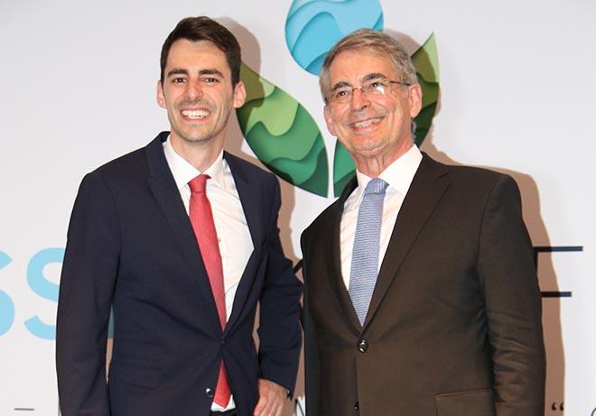 Dennis und Eduard Kastner stellten das Climate Correction Project (CCP) gestern im Hotel Bayerischer Hof bei der ersten WeltWasserKonferenz vor! Fotocredit: SLS Media