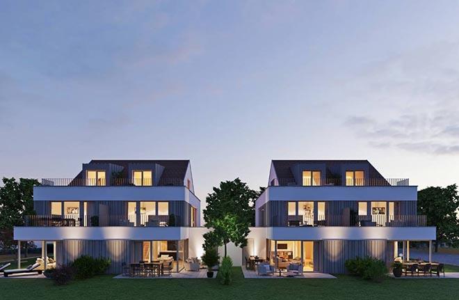 """In Bestlage von Ottobrunn entstehen vier hochwertige Doppelhaushälften im Neubauprojekt """"H27 Ottobrunn"""". Die Häuser mit 4,5 bis 5 Zimmern und einer Wohnfläche von ca. 151 m² - 168 m² entstehen hier."""