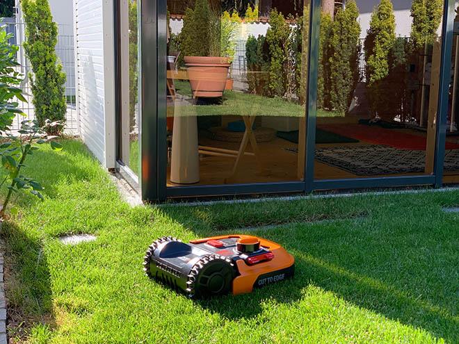 Die 60 cm Durchgang zwischen Gartenhaus und Wohnhaus schafft er spielend.