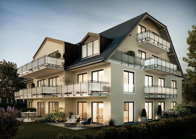 Die Ober- und Dachgeschoss-Wohnungen zeichnen sich durch große Balkonflächen aus.