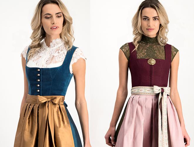 Zwei Top-Mode-Trends für die diesjährige Wiesn: Samt-Dirndl (links) und mal keine weiße Bluse! Fotocredit: Alpenherz