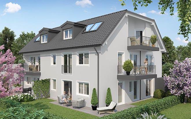 Sechs Eigentumswohnungen ab 2 bis 4 Zimmer mit Preisen ab 479.000 € lassen die Überlegung zu, vielleicht gleich zwei zu kaufen? Fotocredit: neubaukompass.de