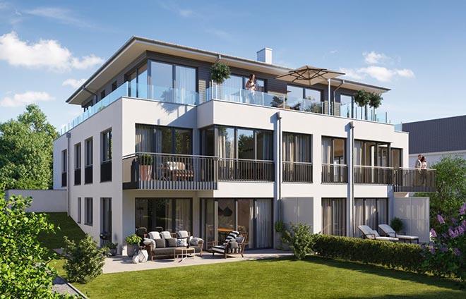 Viel Glas machen diese Neubauimmobilie zur Sonnenkönigin! Das Penthouse ist der Knüller Fotocredit: neubaukompass.de