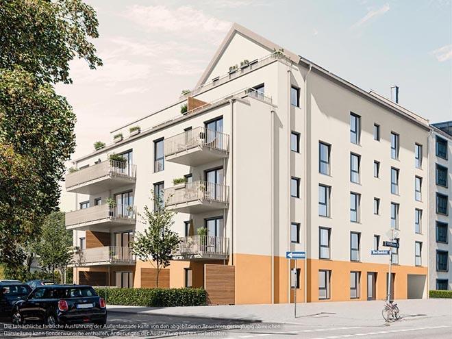 Auf ca. 580 m² Grundstücksfläche entsteht ein fünfgeschossiger Neubau in klassischem Baustil und energieeffizienter KfW-55-Bauweise.
