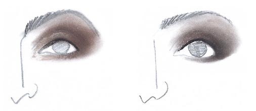 Perfekte Smokey Eyes. Zeichnung: Horst Kirchberger